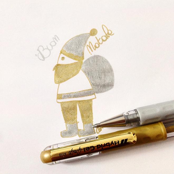 Biglietto Babbo Natale dorato elegrafica 2