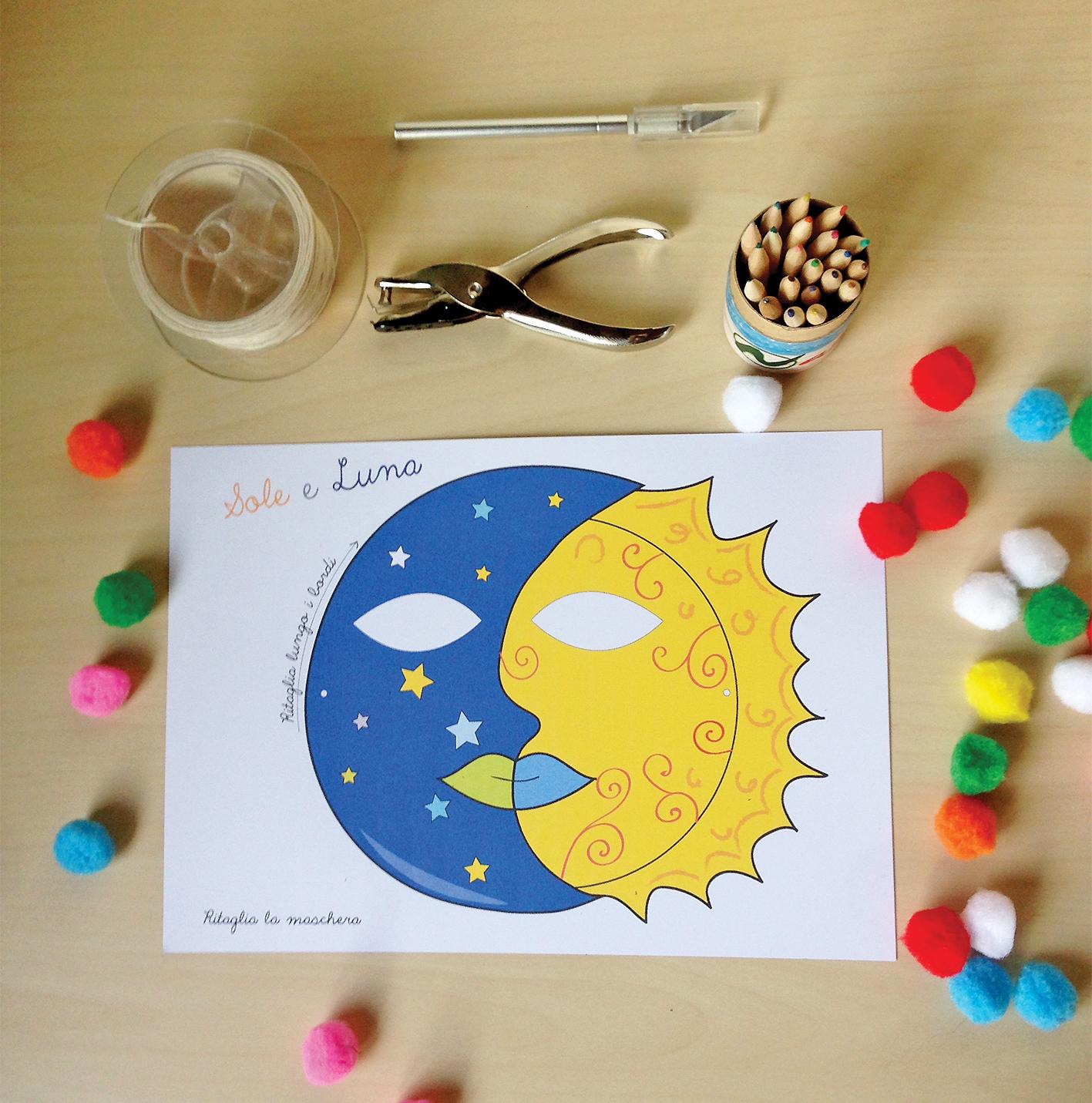 Maschera sole e luna da colorare e ritagliare elegraf for Sole disegno da colorare