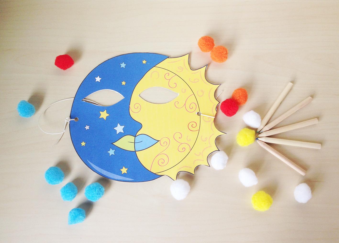 Maschera sole e luna da colorare e ritagliare elegraf for Immagini di clown da colorare